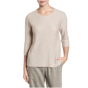 Beige Fine Merino Wool Ribbed Sweater XS